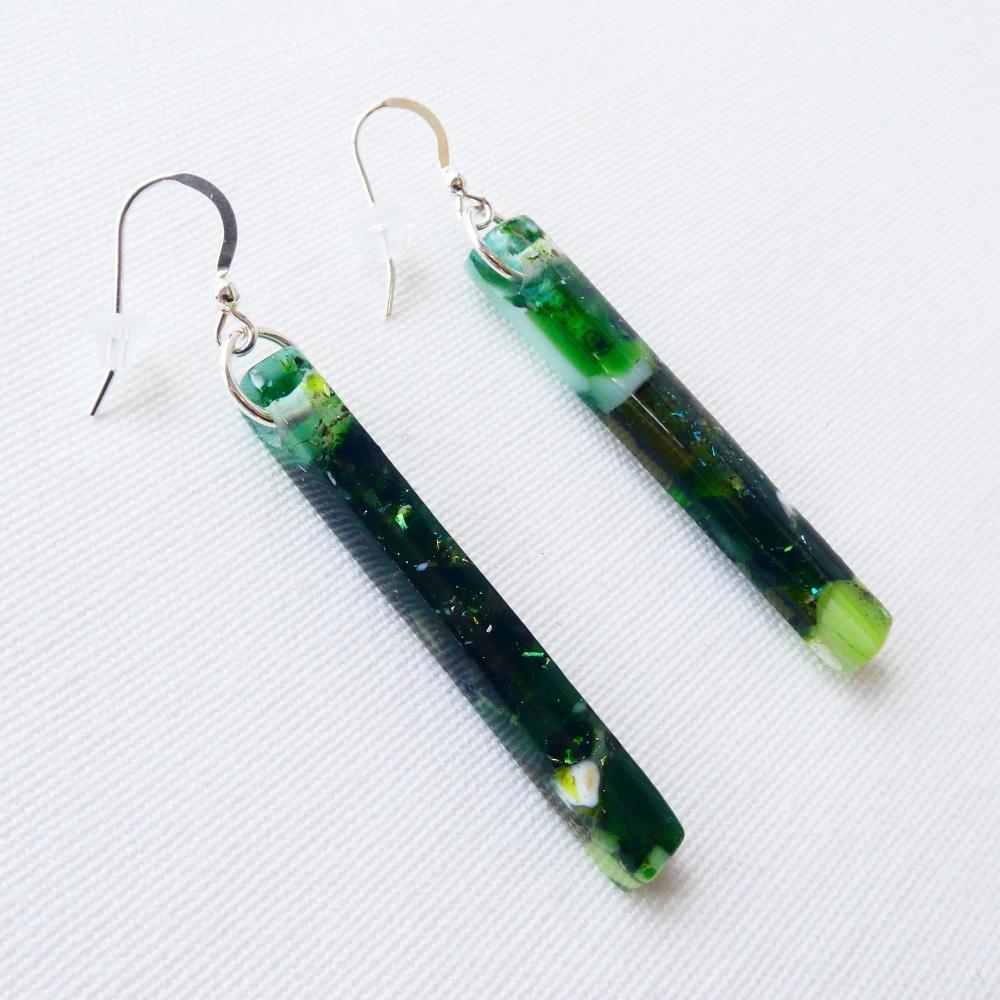 Emerald glass pillar earrings on silver