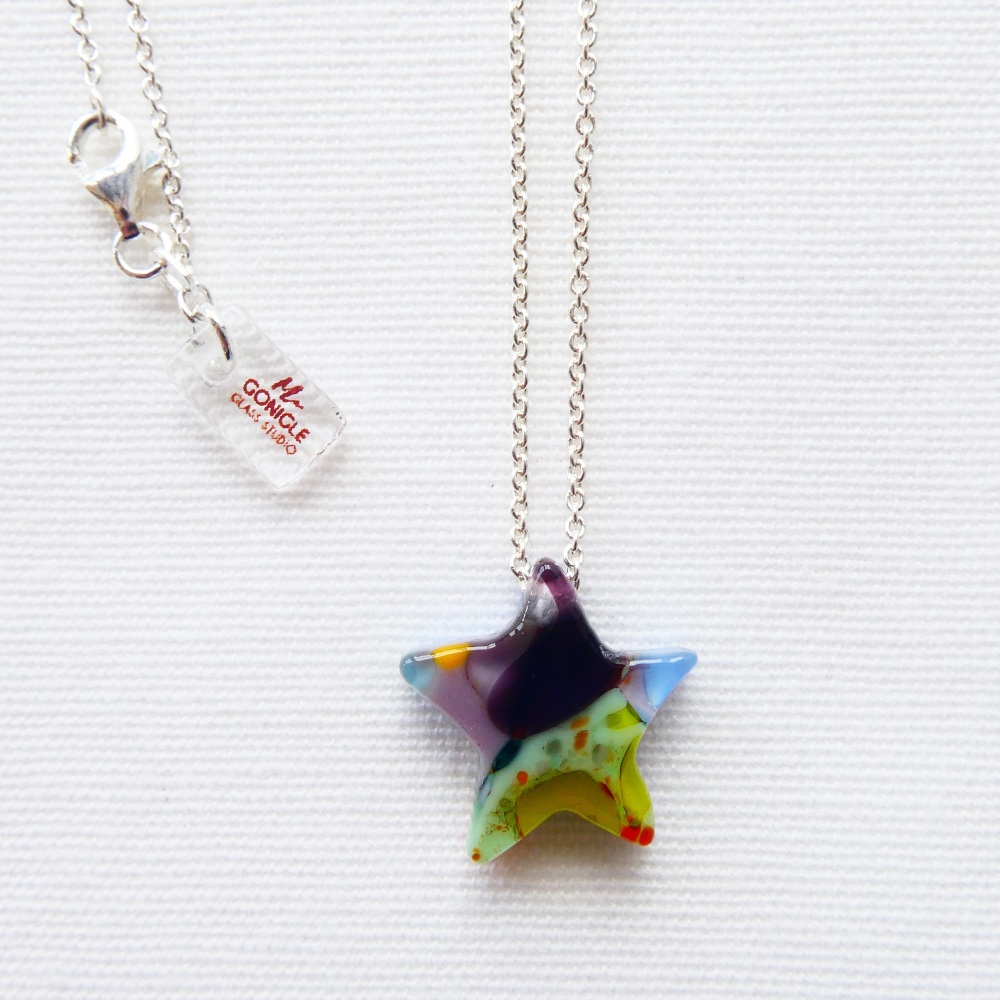 Silver shooting star in Multicolours