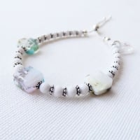 Adjustable fused glass beaded bracelet with mountain jade gemstones on sterling silver