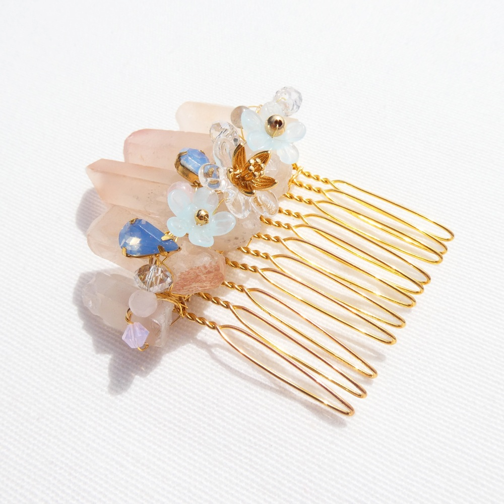 Rose Quartz Haircomb #2