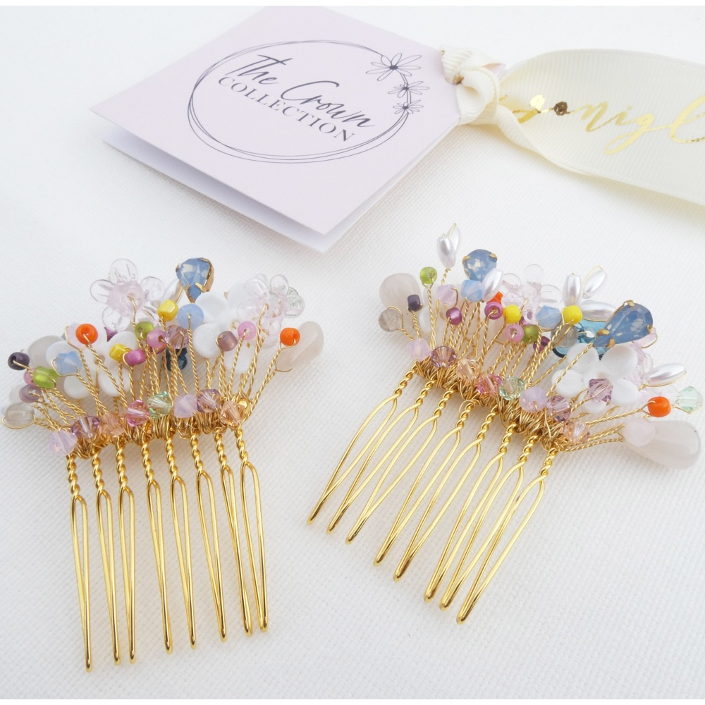 Colourful Flower Haircombs (a pair)