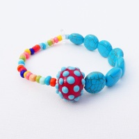 Multicoloured Howlite Bracelet In Red