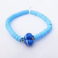 Denim Heart Heishi Bracelet