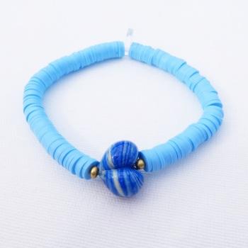 Denim Heart Heishi Bracelet