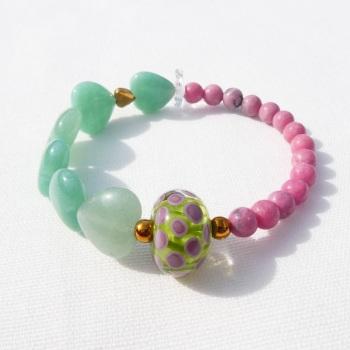 Pink and Aqua heart bracelet