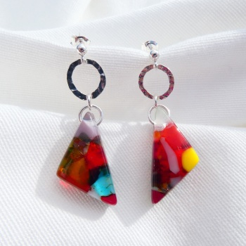 Multicoloured geo drop earrings on silver