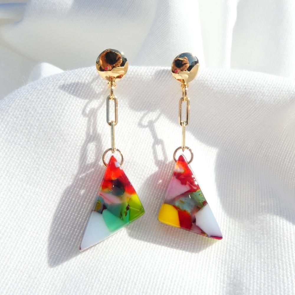 Multicoloured Glass Diamond Drop Earrings on filled gold