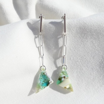 Pastel chain drop earrings on silver