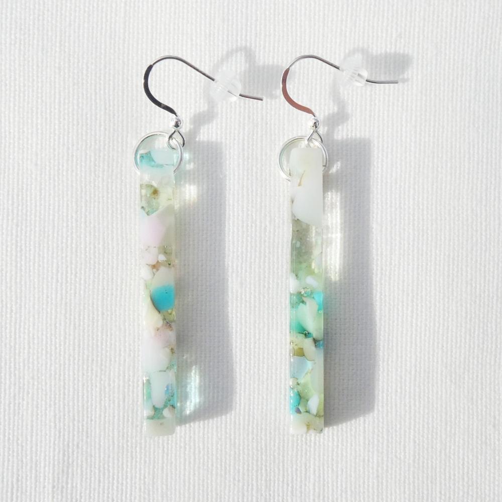 Pastel Glass pillar earrings on silver