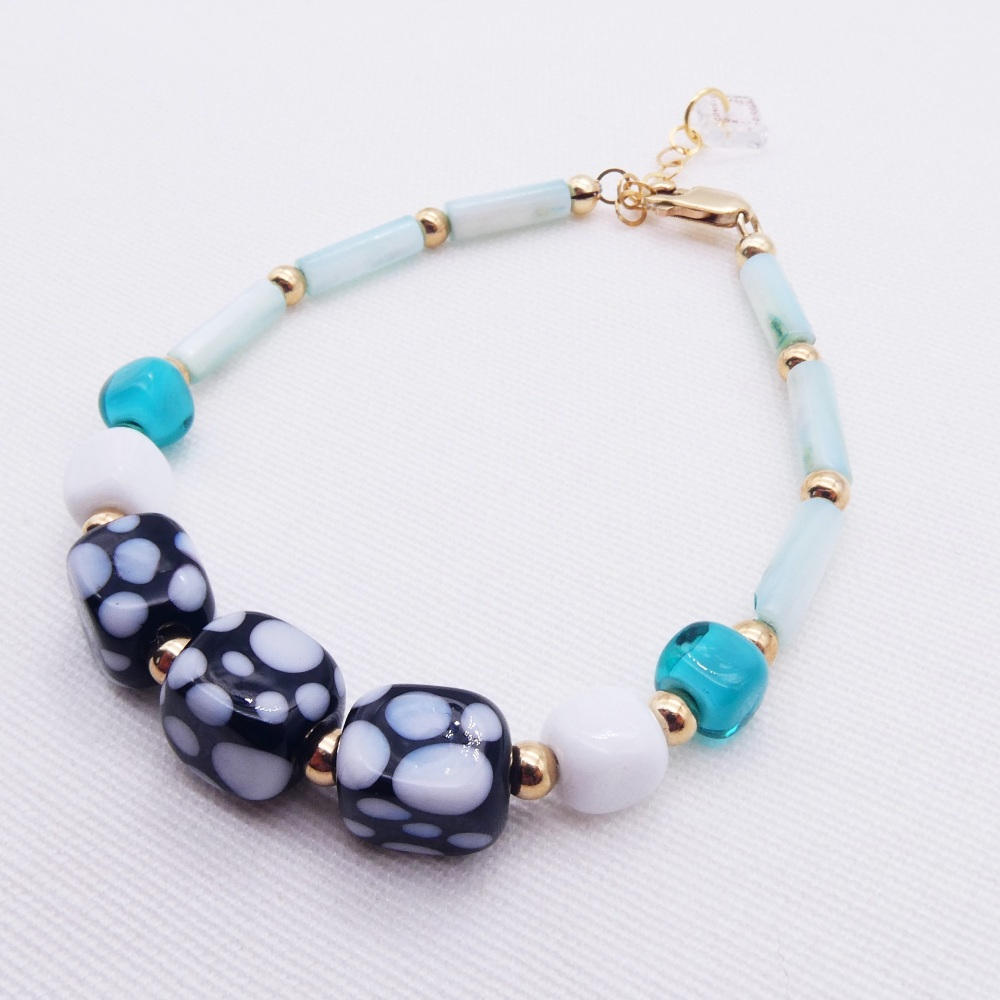 Monochrome and mint  Bracelet.