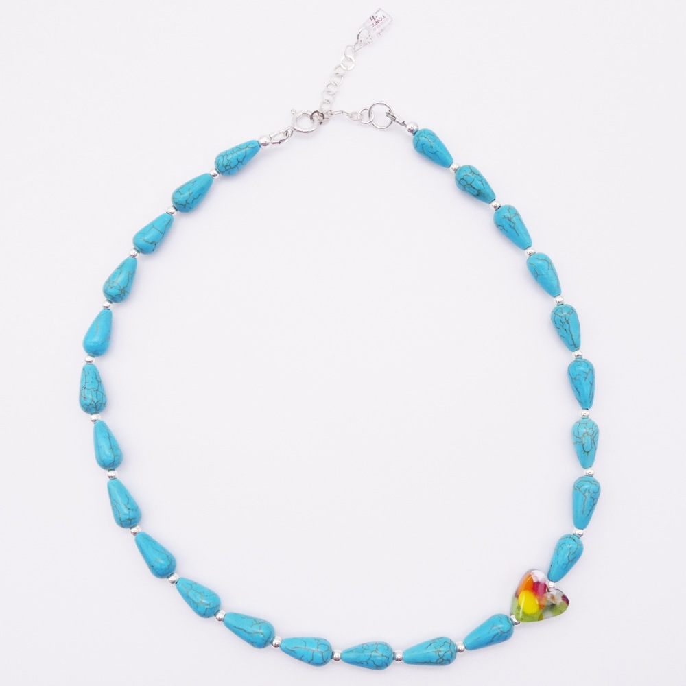 Turquoise howlite teardrop Necklace