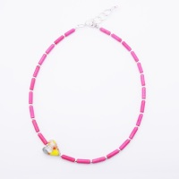 Cerise howlite tube Necklace.