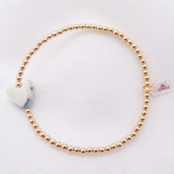 Simply Gold Bracelet with a Pastel Glass Heart
