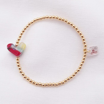Simply Gold Bracelet with a multicoloured Glass Heart