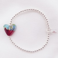 Small Simply Silver Bracelet with a multicoloured Glass Heart