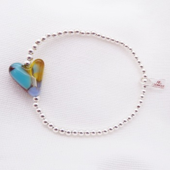 Small Simply Silver Bracelet with a multicoloured Glass Heart #2