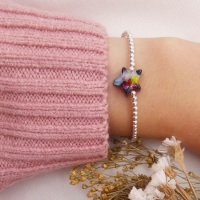 Simply Silver Bracelet with a multicoloured Glass Star
