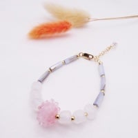 Blush glass bauble bead Bracelet with baby blue opal tube gemstones.