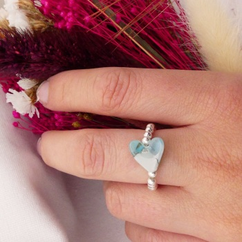 Simply Silver Ring- Pastel Heart #1