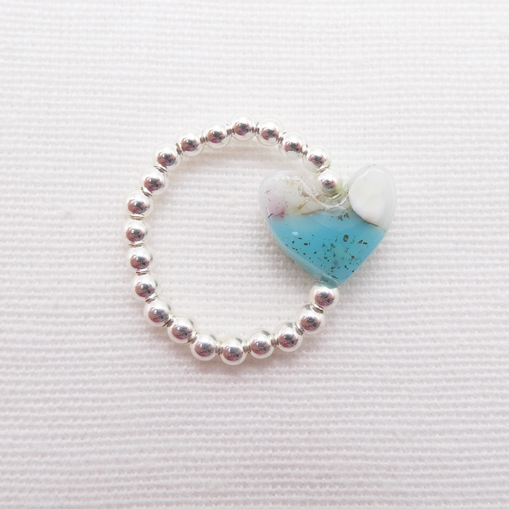 Simply Silver Ring- Pastel Heart #2