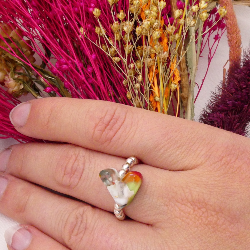 Simply Silver Ring- Multicoloured Heart #1