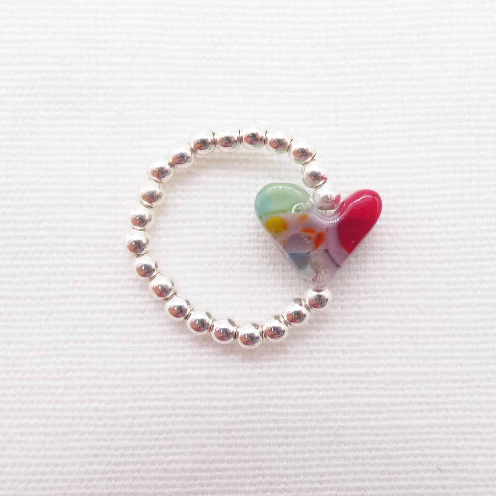 Simply Silver Ring- Multicoloured Heart #2