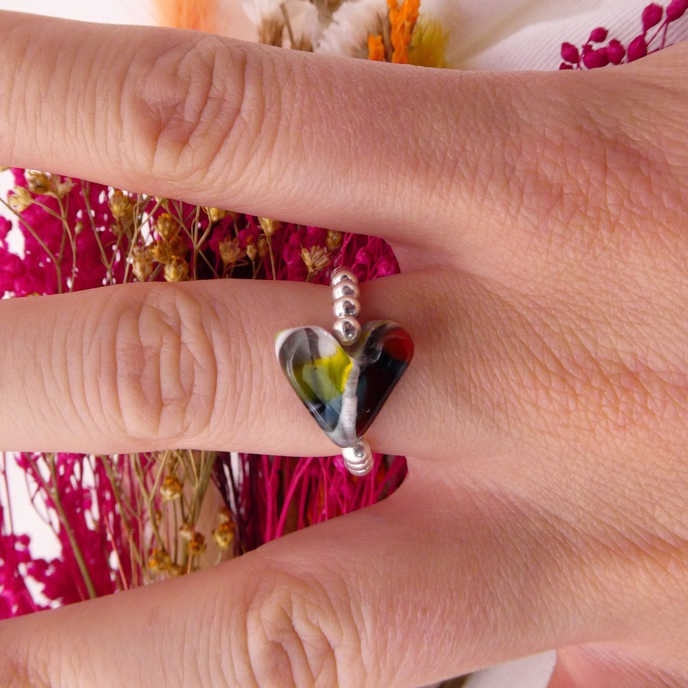 Simply Silver Ring- Multicoloured Heart #3