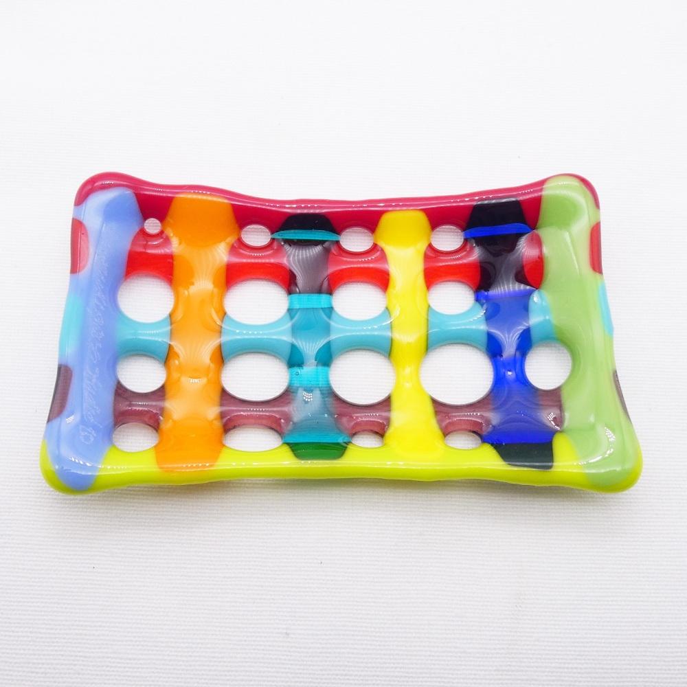 Multicoloured Fused Glass Soap Dish #2