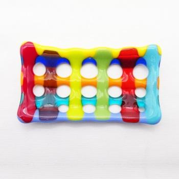 Multicoloured Fused Glass Soap Dish #1