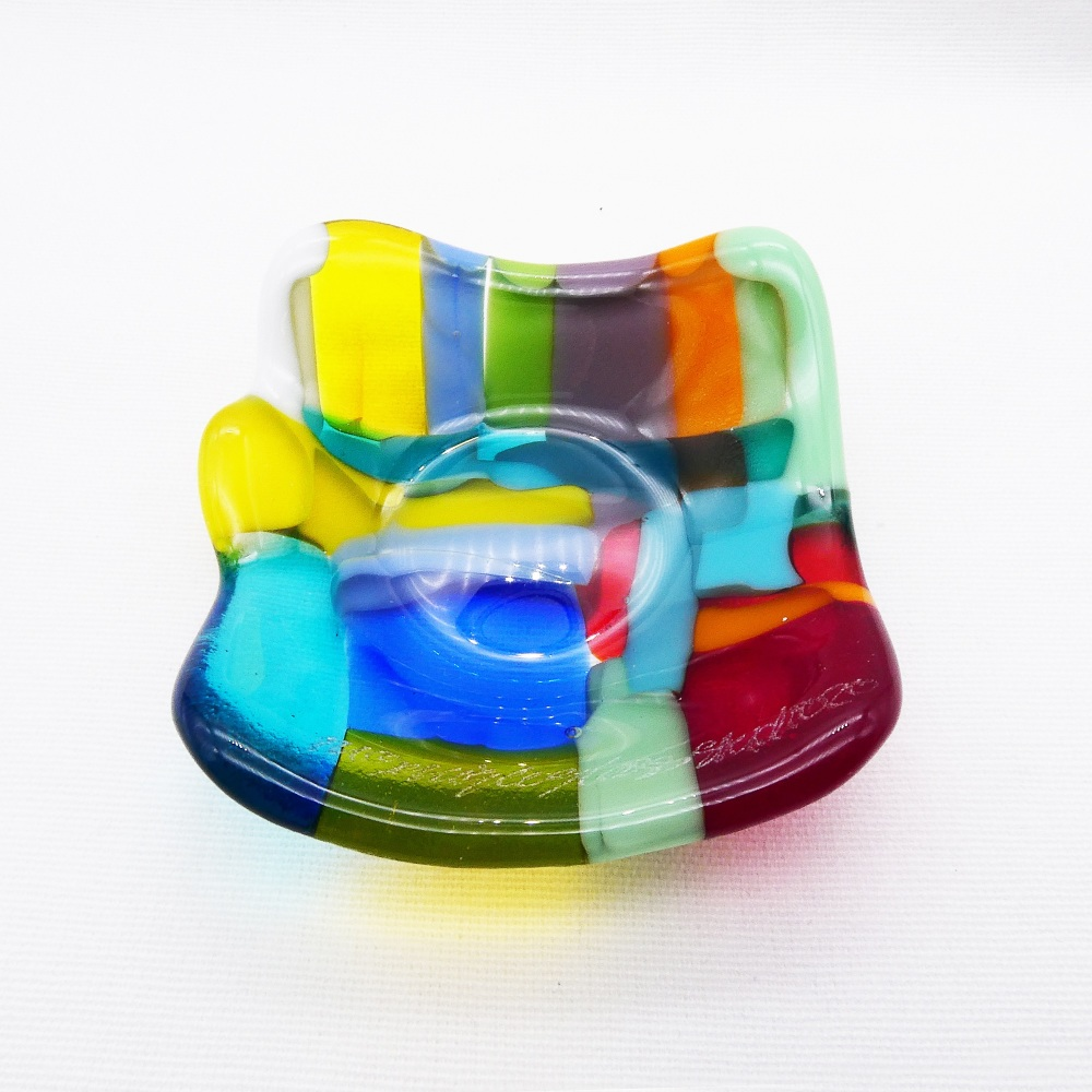 Multicoloured Tiny Fused glass Dish #2