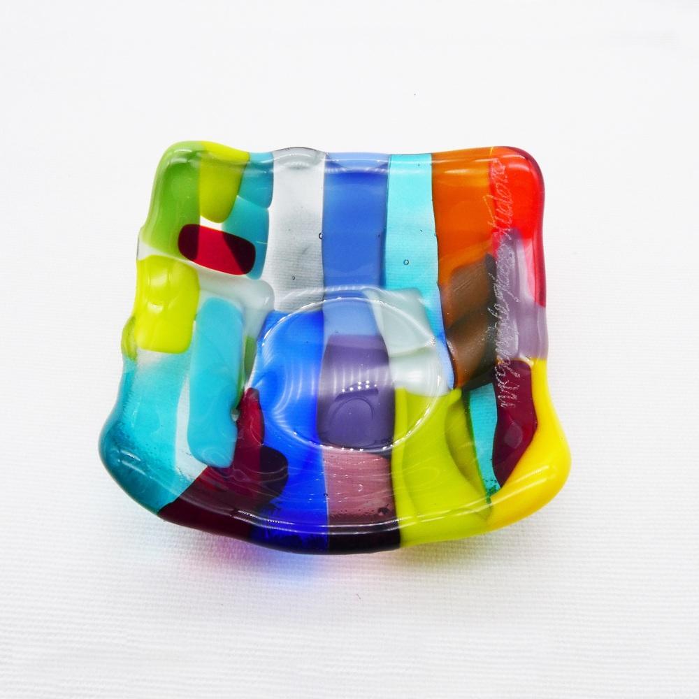 Multicoloured Tiny Fused glass Dish #3