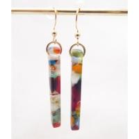 Multicoloured pillar earrings on filled gold
