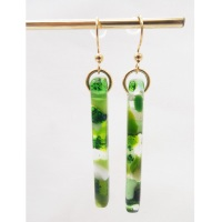 Green pillar earrings on filled gold