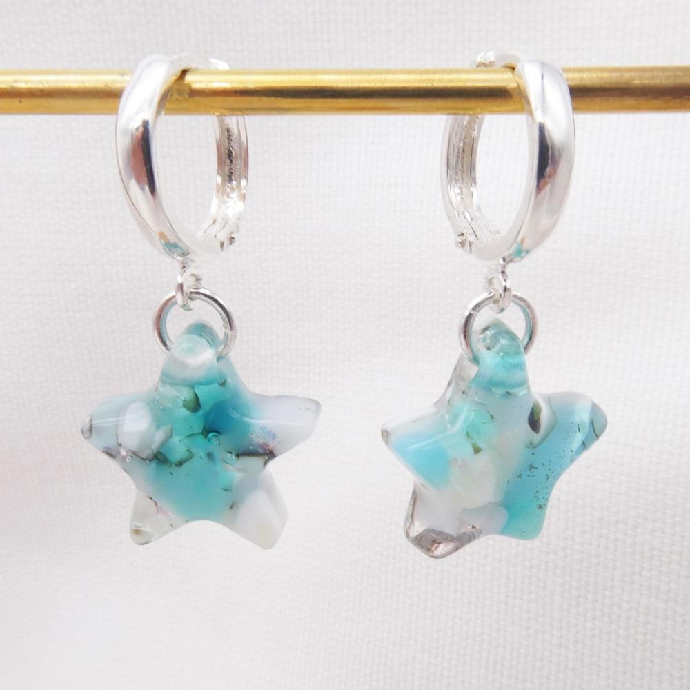 Pastel Glass Star earrings on sterling silver