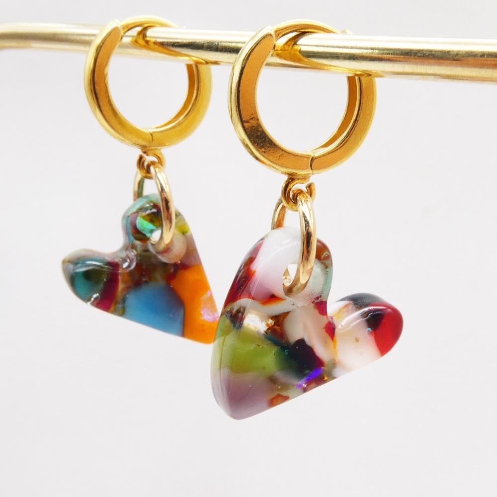 Multicoloured Glass Heart earrings on filled gold