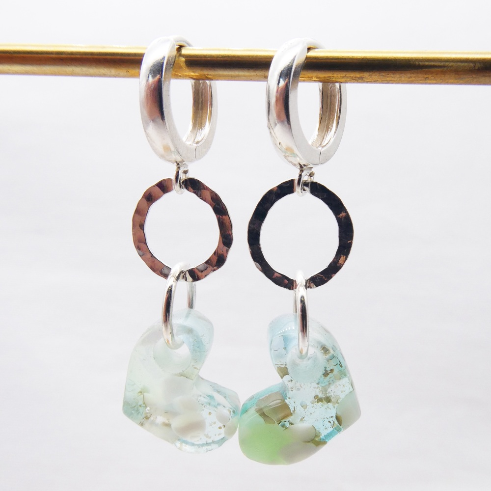 Long drop Pastel Glass Heart earrings on sterling silver