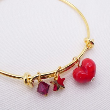 Red glass Heart On a 14K Gold Plated Bangle