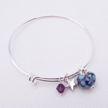 Purple and Turquoise glass Heart On a silver Plated Bangle