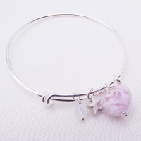 White and Pink glass Heart On a silver Plated Bangle