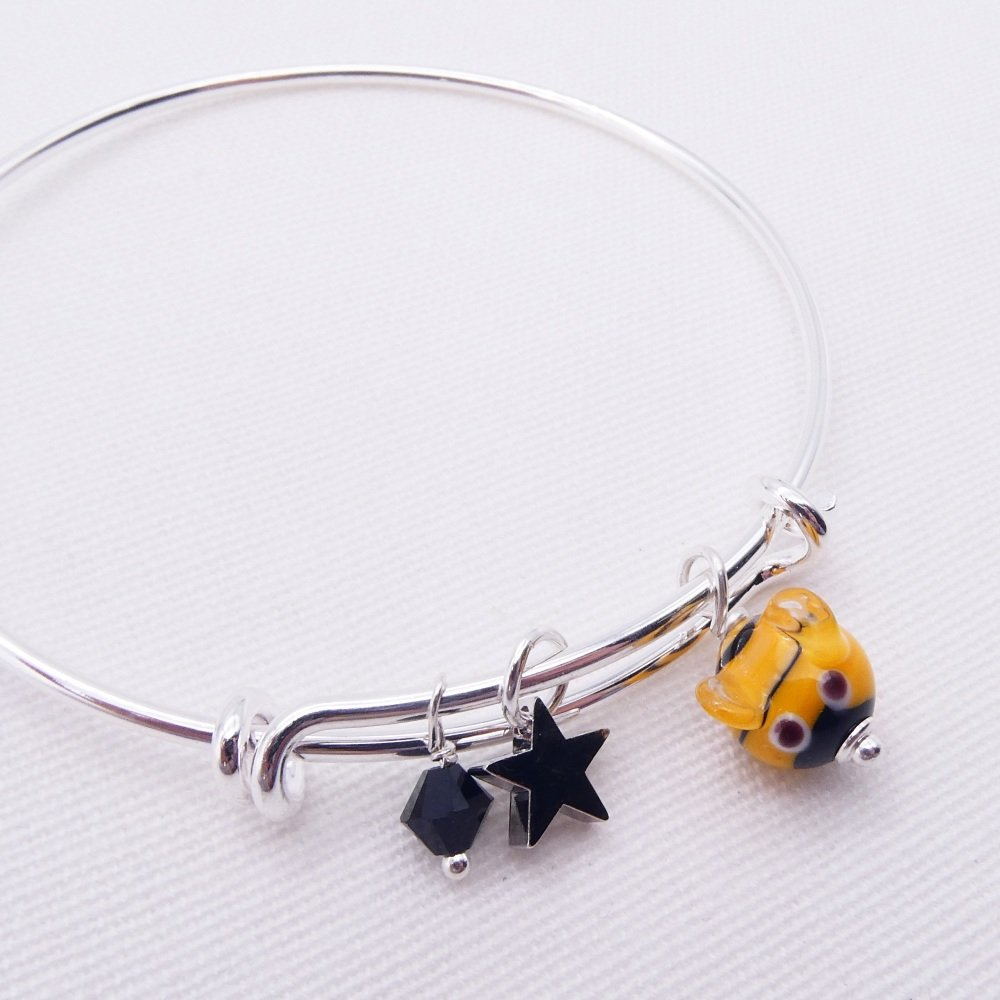 Glass Bee On a silver Plated Bangle