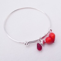 Red glass Heart On a silver Plated Bangle