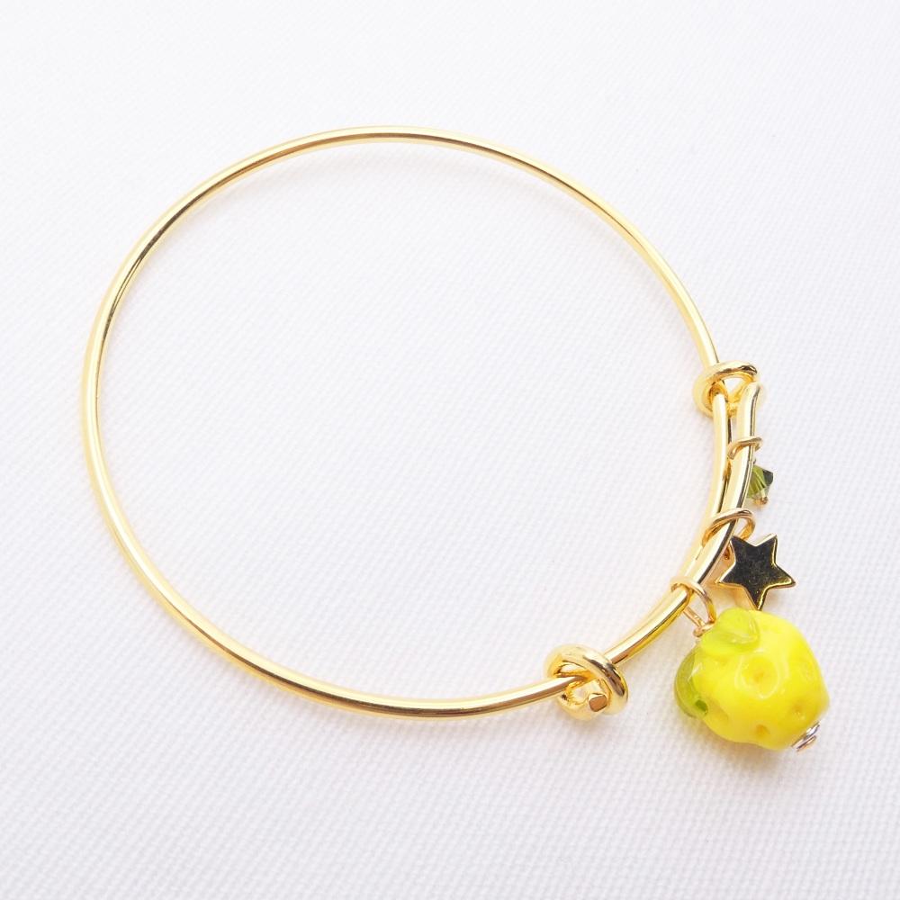 Yellow Glass Lemon On a 14K Gold Plated Bangle