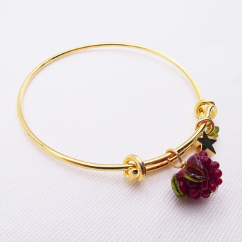 Glass Raspberry On a 14K Gold Plated Bangle
