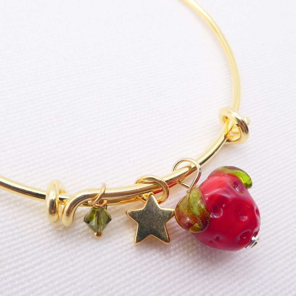 Glass Strawberry On a 14K Gold Plated Bangle