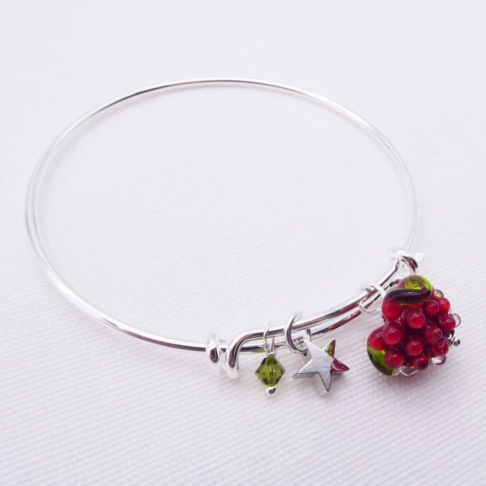 Glass Raspberry On a silver Plated Bangle