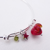 Glass Strawberry On a silver Plated Bangle