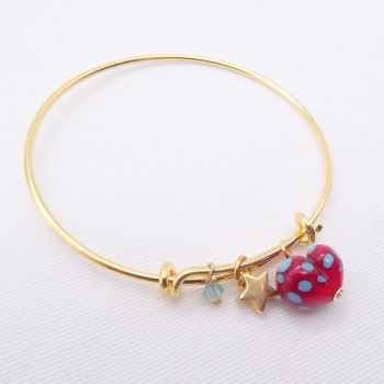 Red and Turquoise glass Heart On a 14K Gold Plated Bangle