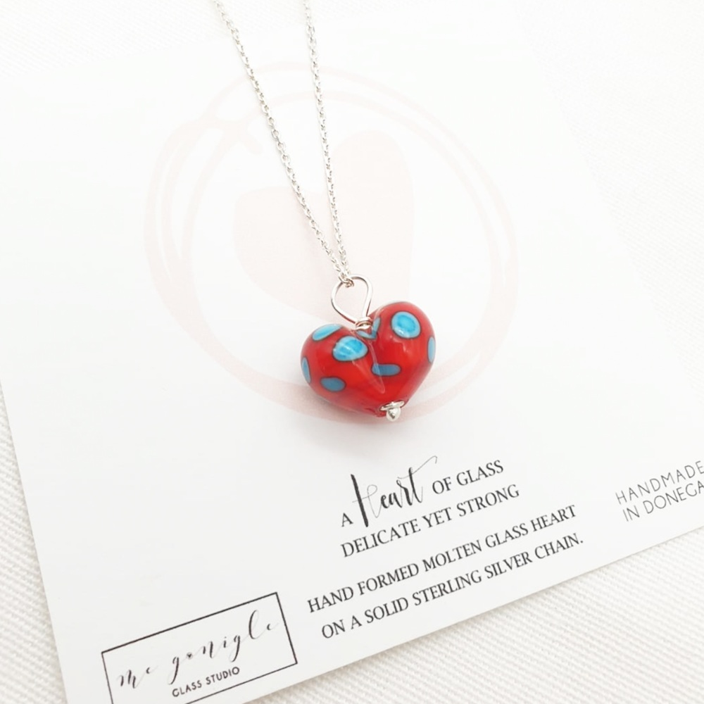 Ren and Turquoise Molten Glass Heart