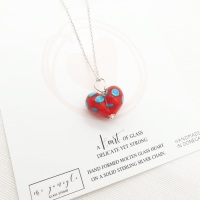 Red and Turquoise Molten Glass Heart Necklace
