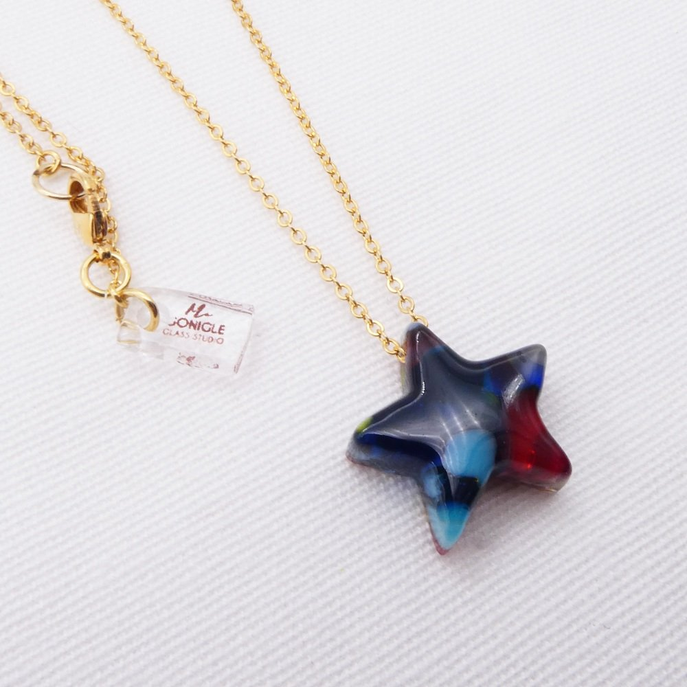 Glass star in Multicolours on gold #4